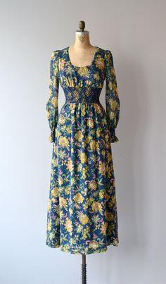 Painted Garden dress 1970s maxi dress vintage by DearGolden