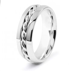 Men's Stainless Steel Polished Twisted Rope Inlay Band #Ring