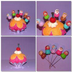 Set of Pincushion (Felt) and 5 Babushka / Matryoshka / Russian doll Sewing Pins (Polymer Clay)