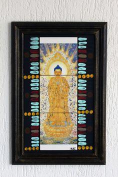 quadro oriental buda budda peace azulejo artesanal arte ceramica tiles handmade decor decoração design interiores casa home pattern positive vibration
