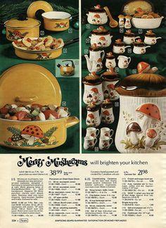 decor Merry Mushrooms from the 1973 Sears Cata - Vintage Advertisements, Vintage Ads, Vintage Decor, Vintage Kitchen Accessories, Retro Interior Design, Mushroom Decor, 70s Decor, Vintage Soul, Vintage Kitchenware