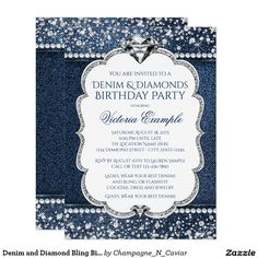 Denim And Diamond Bling Birthday Party Invitations Zazzle throughout Diamond Invitations - Party Supplies Ideas 50th Birthday Party Invitations, Baby Shower Invitations, Birthday Parties, 40th Birthday, Birthday Ideas, Bling Invitations, 50th Party, Birthday Celebration, Forty Birthday