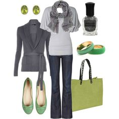green & grey, created by htotheb on Polyvore