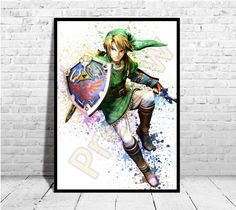 Link Hero from Zelda, Game Poster, The legend of Zelda, Zelda Poster, Buy any 2 Prints get 3rd FREE, AG180 by ArtisticoGifts on Etsy https://www.etsy.com/listing/502921636/link-hero-from-zelda-game-poster-the