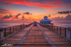 Juno Beach Pier Sunrise Pink Sky Atlantic Ocean