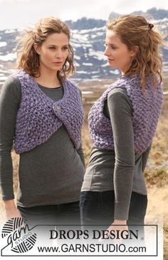 """Knitted DROPS waistcoat in moss st in """"Polaris"""". Size S to XXXL - Free pattern by DROPS Design"""