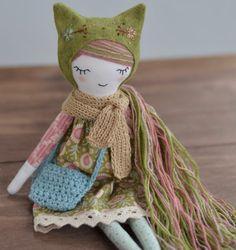 Folk art doll Heirloom doll Cloth doll Fabric folk doll
