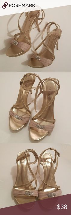 Sparkly gold strappy heels with rhinestones These sparkly gold strappy heels with rhinestones are great for any classy occasions from weddings to prom or date night. Bakers Shoes Heels