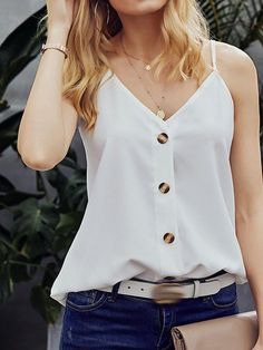get more off any 2 white tank top outfits with jeans casual cami tank top spaghetti straps v neck shirt sleeveless button up tee for womens button up tee shirt outfit summer Trendy Outfits, Summer Outfits, Fashion Outfits, Womens Fashion, Petite Fashion, Tank Top Outfits, Jean Outfits, Vetement Fashion, White Sleeveless Blouse