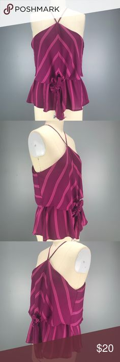"""Fuchsia Striped Halter Top Faux Tie Front L Fuchsia Halter Top Faux Tie Front  Size: Large  Colors: Fuchsia Pink   Fabric: 100% Polyester  20"""" Armpit to Armpit  Elastic Waist Pullover Construction Popover Camisole Top Sleeveless Blouse Stripes Monteau Beach Festival  Romantic Peplum  Cute  Brand New Purchased at Macy's (Bought the wrong size 😩 my loss your gain) Macy's Tops"""