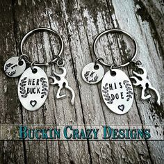 Couples Country Keychain Set His buck & Her by Buckincrazydesigns