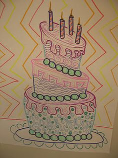 Wayne Thiebaud cake marker drawings. Nice art history link, easy supplies, good review of cylinders...sub plan?