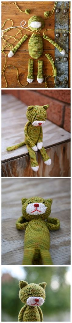 I love amigurumi with floppy arms and lets.and any amigurumi in general! Chat Crochet, Crochet Mignon, Crochet Amigurumi, Knit Or Crochet, Amigurumi Patterns, Crochet Crafts, Crochet Dolls, Yarn Crafts, Knitting Patterns