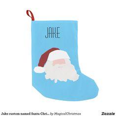 Jake custom named Santa Christmas stocking Small Christmas Stocking