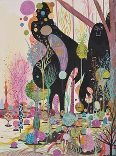 art, colourful, illustration, psychedelic, trees