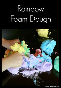 Rainbow Foam Dough recipe  An amazing sensory experience you don't want to miss!  FUN AT HOME WITH KIDS