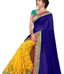 Buy Yellow and blue embroidared georgette saree with blouse . below-1500 online