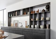 """""""Concrete"""" is a kitchen with sophisticated, minimalist design - inspired by the Bauhaus movement. Concrete will be exhibited at the Cologne Furniture Fair Modern Countertops, Modern Kitchen Cabinets, Modern Kitchen Design, Drawer Design, Cabinet Design, Industrial Chic Kitchen, Rustic Kitchen, Latest Kitchen Designs, Handleless Kitchen"""
