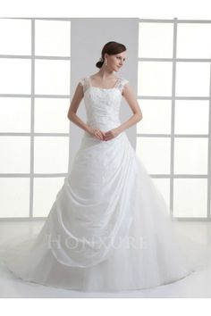 Sheer Straps Taffeta Princess Wedding Dress with Beaded Applique and Chapel Train