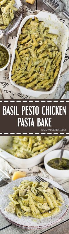 Looking for a perfect weeknight dinner? This Basil Pesto Chicken Pasta Bake is exactly what you need. Easy and quick to make + crazy delicious! | yummyaddiction.com