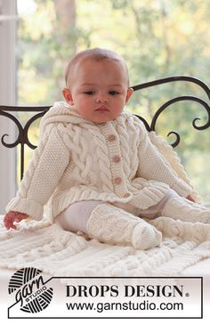 Garnstudio, Drops Design Free pattern DROPS baby 17 2 jacket socks and blanket in merino extra fine Baby Knitting Patterns, Baby Cardigan Knitting Pattern Free, Knitted Baby Cardigan, Knit Baby Sweaters, Knitted Baby Clothes, Knitting Kits, Knitting For Kids, Baby Patterns, Free Knitting