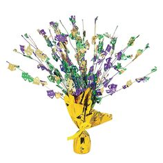 "Parti Gras - Mardi Gras Foil Burst Table Decoration - OrientalTrading.com (possible table decor, balloon weights?)  $4.25 / each (15"")"
