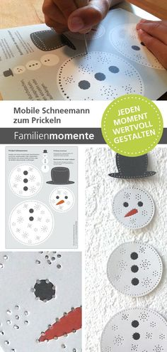 prickel schneemann bastelbogen zum prickeln eines schneemann mobiles deko mobiles zum. Black Bedroom Furniture Sets. Home Design Ideas