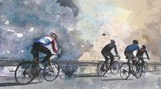 Cycling art road bike watercolor