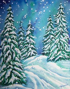 """Winters Walk""  Watercolor Art Print  conniswatercolors.com"