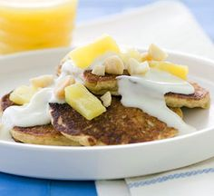 Shredded coconut and pineapple tidbits give a Hawaiian flair to these healthy hotcakes.