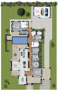 Floor Plan Friday: Luxury 4 bedroom family home with pool Howdy! It & # s Floor Plan Friday again and today I have this luxury 4 bedroom family home with a pool to share with you. I think the layout is pretty awesome. Luxury House Plans, Dream House Plans, Modern House Plans, Small House Plans, Split Level House Plans, 4 Bedroom House Plans, Modern Houses, Layouts Casa, House Layouts