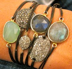bracelets made with semi precious stones, pave diamonds, 18 karat gold nuggets, and sparkly stardust beads