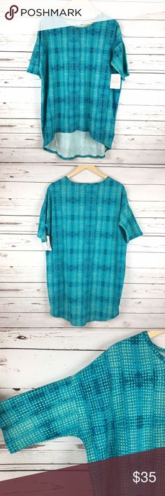 NWT LuLaRoe Irma Tunic Top Small NWT LuLaRoe Irma. Small. Teal and mint abstract checked print. LuLaRoe Tops Tunics