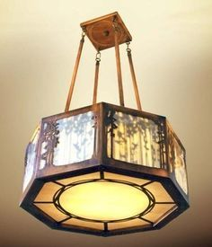 Octagonal Chandelier - With Inner Shadow Element , James Mattson Lighting, Mission Lighting Craftsman Lighting, Craftsman Decor, Modern Craftsman, Craftsman Style, Craftsman Houses, Copper Lighting, Home Lighting, Stairway Lighting, Kitchen Lighting