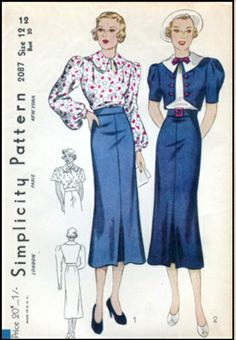 Simplicity #2087 - 1936 Ladies Two-Piece Dress With Bolero Jacket Sewing Pattern