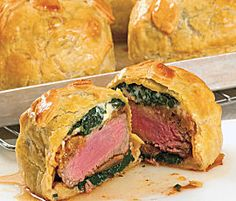 Individual Beef Wellingtons with Mushroom, Spinach & Blue Cheese Filling
