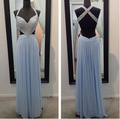 Blue Prom Dresses,Sparkly Prom Dress,Straps Prom Gown,Backless Prom Dresses,A Line Evening Gowns,2016 Evening Gown,Beaded Formal Dress,PD160052