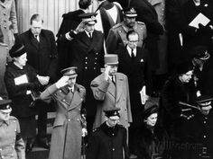 Winston Churchill Funeral with Royals and World Leaders Saluting on Steps of St Pauls Cathedral Photographic Print