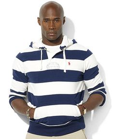Polo Ralph Lauren Big and Tall Hoodie, Stripe Hoodie - Mens Hoodies & Track Jackets - Macy's