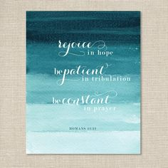 Bible Verse Art Print / Romans 12.12. $15.00, via Etsy.