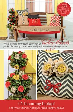 Want a piece of the burlap trend? Add burlap to your front porch for a splash of color