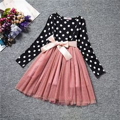 2017 Casual Kid Girls Lace Dress Enfant Baby Dot Bow Pattern Long Sleeve Birthday Christening Lace Children Dresses For 6 Years * Pub Date: Feb 11 2017 Girls Lace Dress, Little Girl Dresses, Tulle Dress, Dot Dress, Girls Dresses, New Years Dress, School Dresses, Korean Dress, Princess Girl