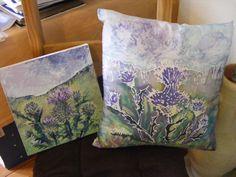 Hand painted silk cushion
