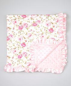 Another great find on #zulily! Pink & Cream Floral Ruffle Blanket by Diapers & Denim #zulilyfinds