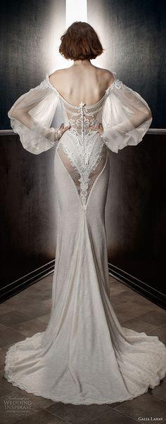 ecf53a496d7 galia lahav spring 2018 bridal long bishop sleeves off the shoulder  sweetheart neckline heavily embellished bodice vintage fit and flare  wedding dress sweep ...