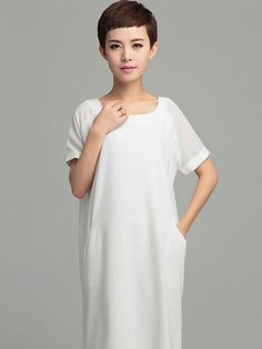 Simple Solid Color Short Sleeve O-neck Loose Midi Dress