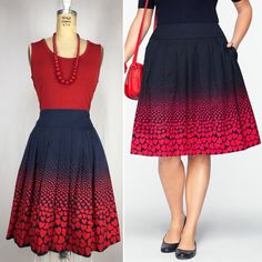 7d5804a9a46 Talbots size 12 Blue Red Queen Of Hearts Pleated Skirt Pockets Rockabilly  Swing  Talbots