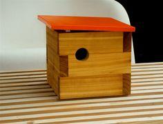 Mid Century Inspired Modern Cedar Birdhouse in Orange $150
