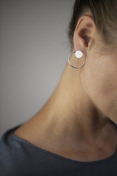 LUXAA Doppel-ohrstecker Ring Aus Sterling Silber Purist, elegant stud earrings consisting of two individual elements / 925 sterling silver matt, stamped Agate Jewelry, Ear Jewelry, Jewelery, Jewelry Accessories, Fine Jewelry, Tanzanite Earrings, Women's Earrings, Double Earrings, Circle Earrings