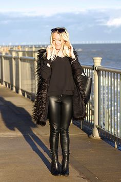 Miss Foxy Faux Fur Gilet, Warehouse Leather Pants, New Look Leather Boots